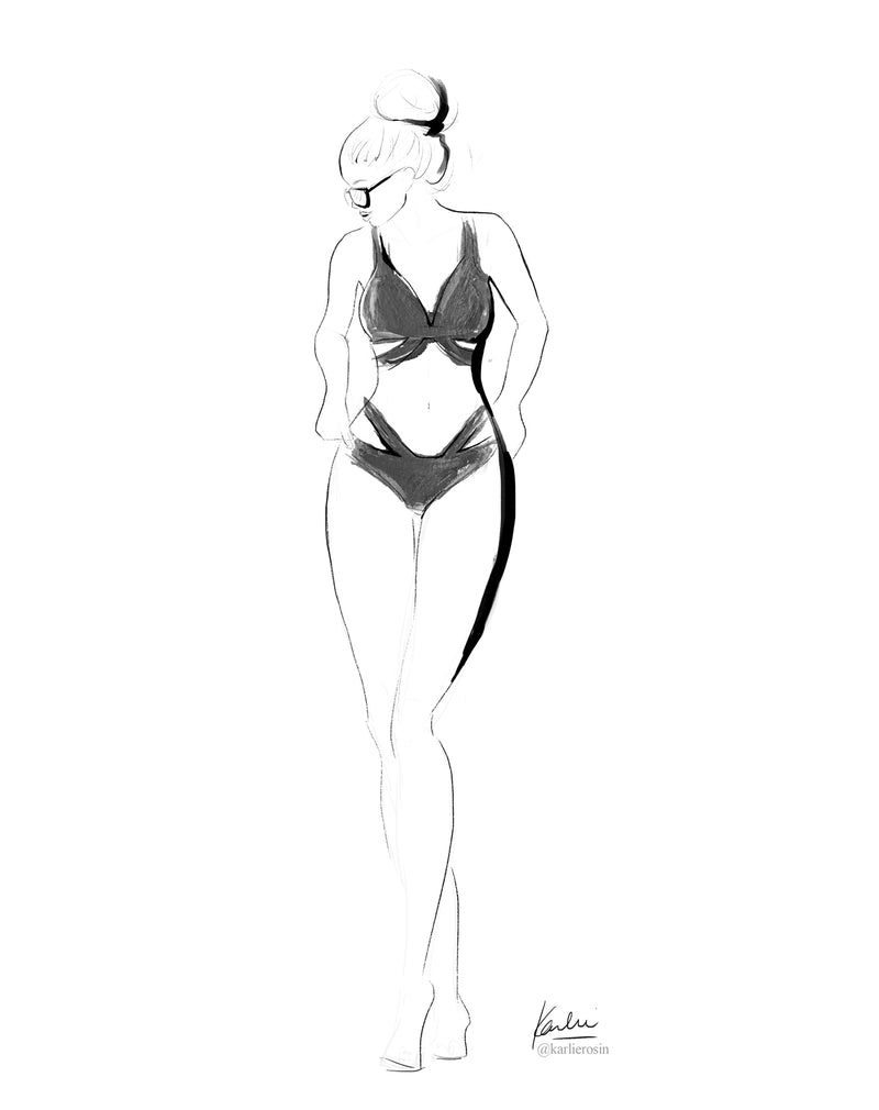 Elegant Linear Illustration | B&W Criss-Cross Bikini Summer Fashion Illustration | 8x10, 11x14