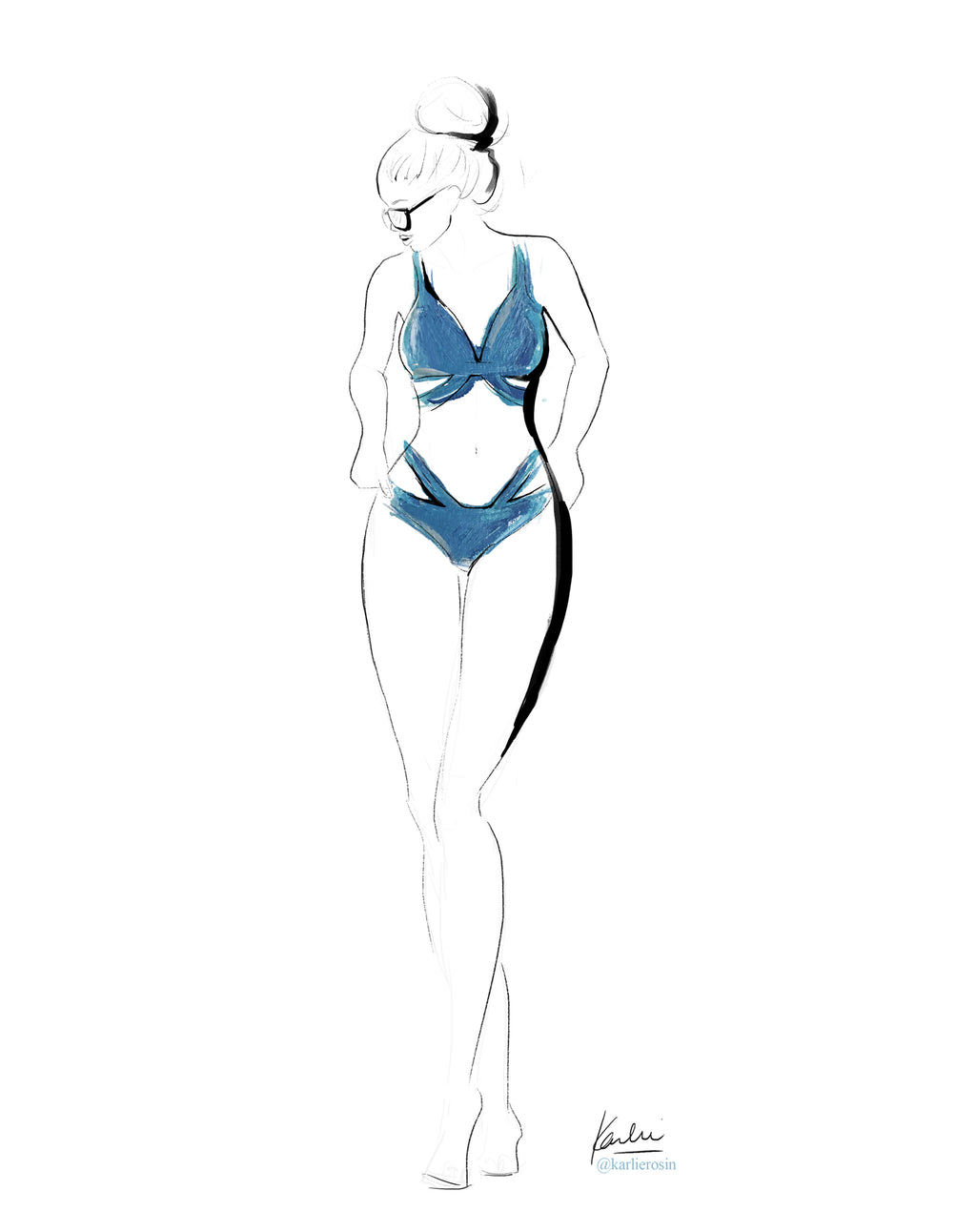 Elegant Linear Illustration | Aqua Bikini Summer Fashion Illustration | 8x10, 11x14