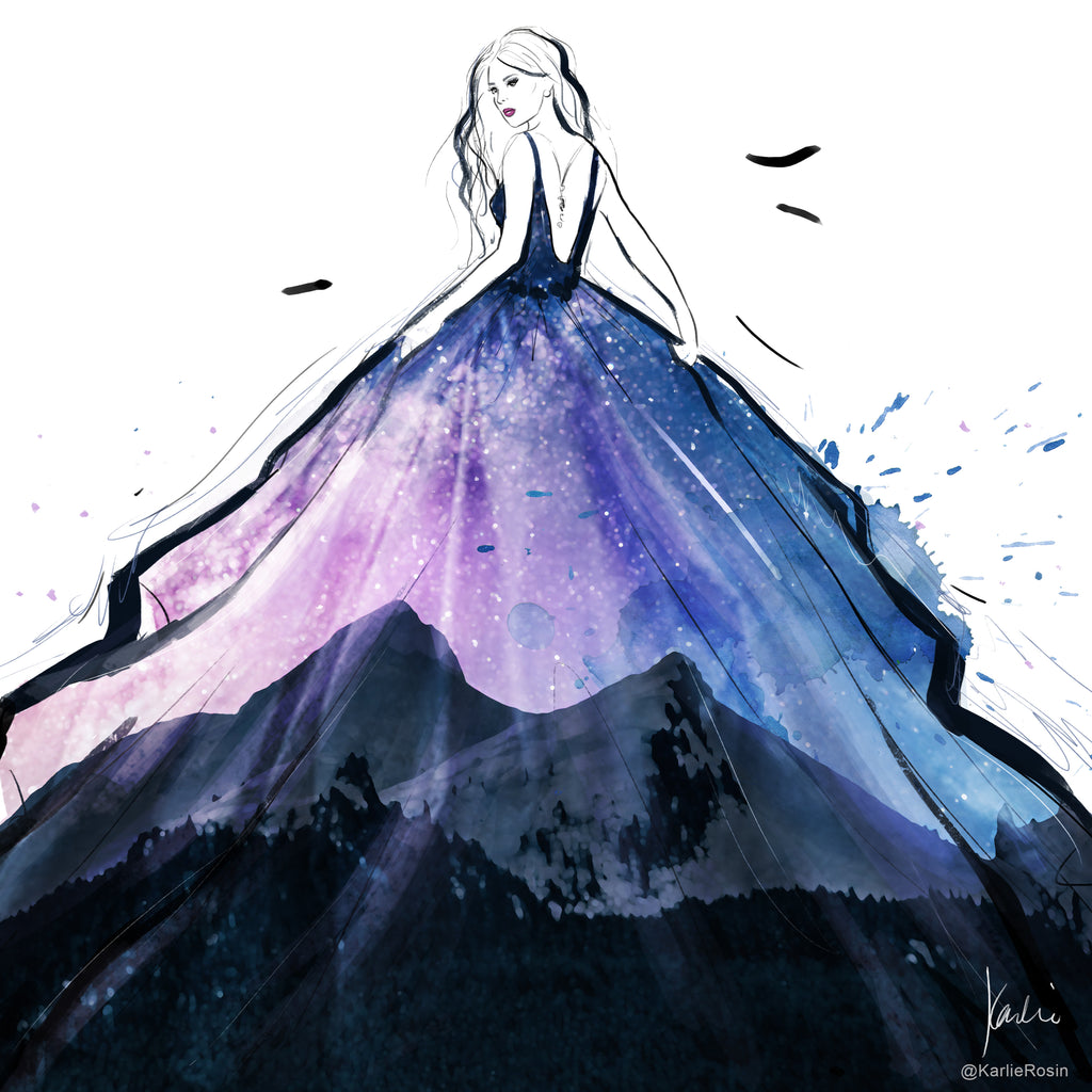 Fashion Scapes Collection | Fashion Illustration Starry Night | 8x10, 11x14