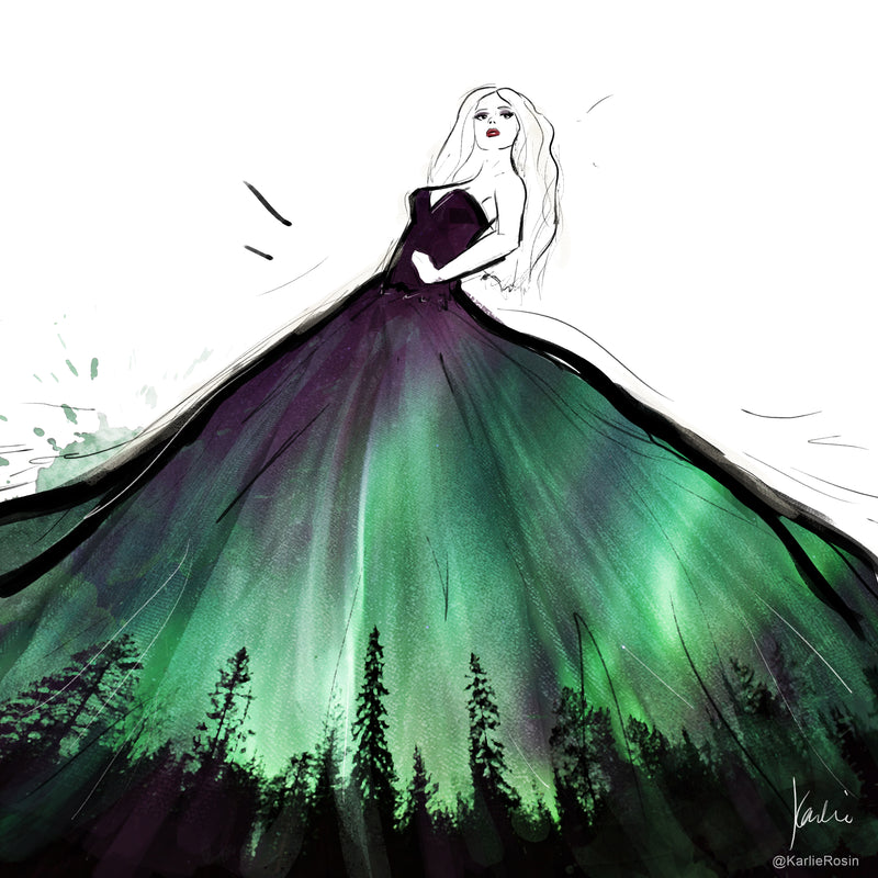 Fashion Scapes Collection | Fashion Illustration Aurora Borealis | 8x10, 11x14
