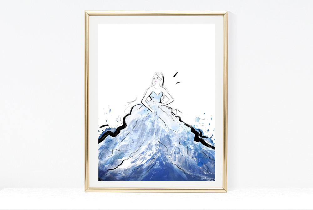 Fashion Scapes Collection | Fashion Illustration Snowy Mountain | 8x10, 11x14