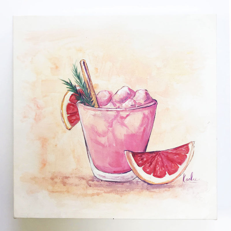 Cocktail Art with Grapefruit | Cocktail Illustration | Acrylic on Canvas| 12x12