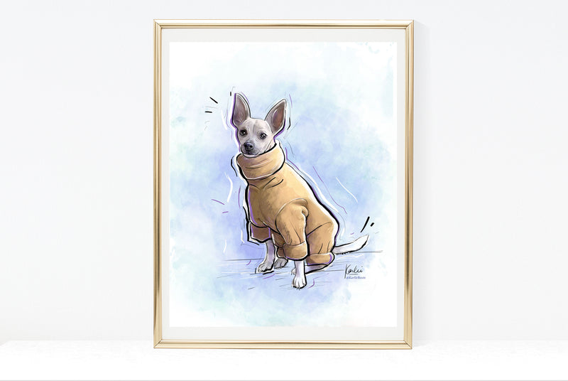 Dog Illustration | Cute Chihuahua Dog Art | 5x7,  8x10, 11x14