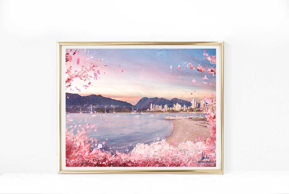 Vancouver Cherry Blossom Art Print | Isolation Edition 2020 | as seen on Tourism Vancouver | 11x14, 8x10