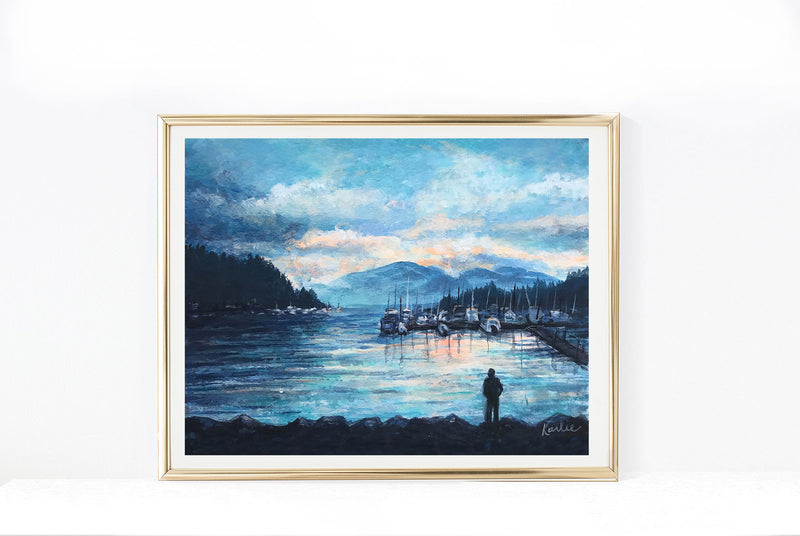 Deep Cove Sunset Views | Sunset in British Columbia Illustration | 8x10, 11x14