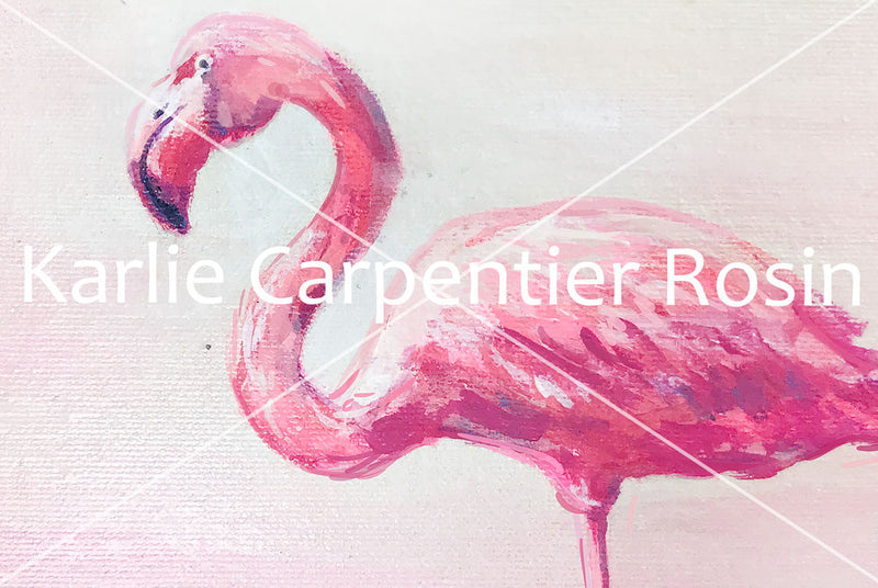 Pink Flamingo Art | Flamingo Illustration | 4.5x6, 8x10, 11x14