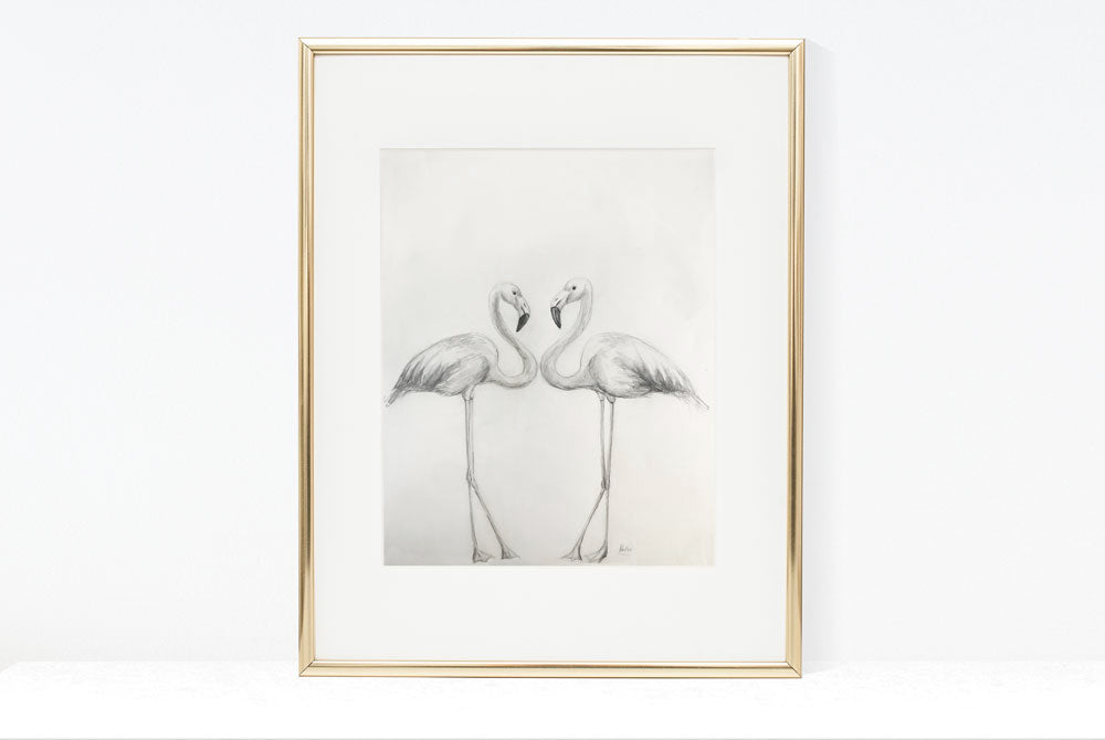 Original Art | Flamingo Duo Illustration | Pencil and watercolour sketch 16x20