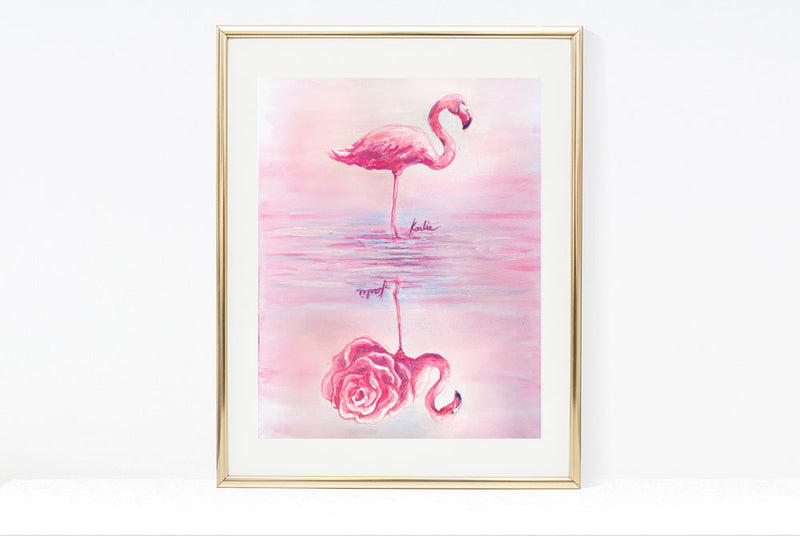 Flippable Flaming Art Print | Pink Flamingo Illustration | 4.5x6, 8x10, 11x14