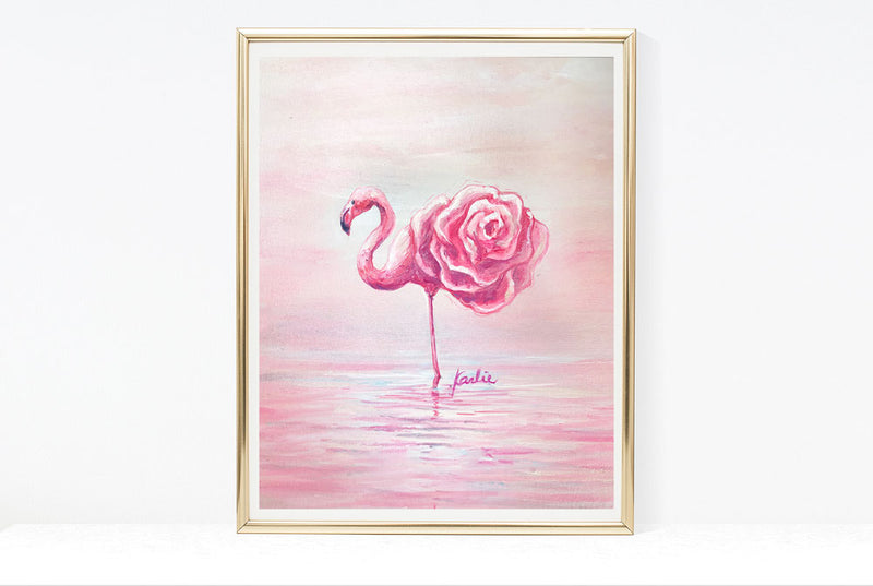 Pink Flower Flamingo Art Print | Pink Flamingo Illustration | 4.5x6, 8x10, 11x14
