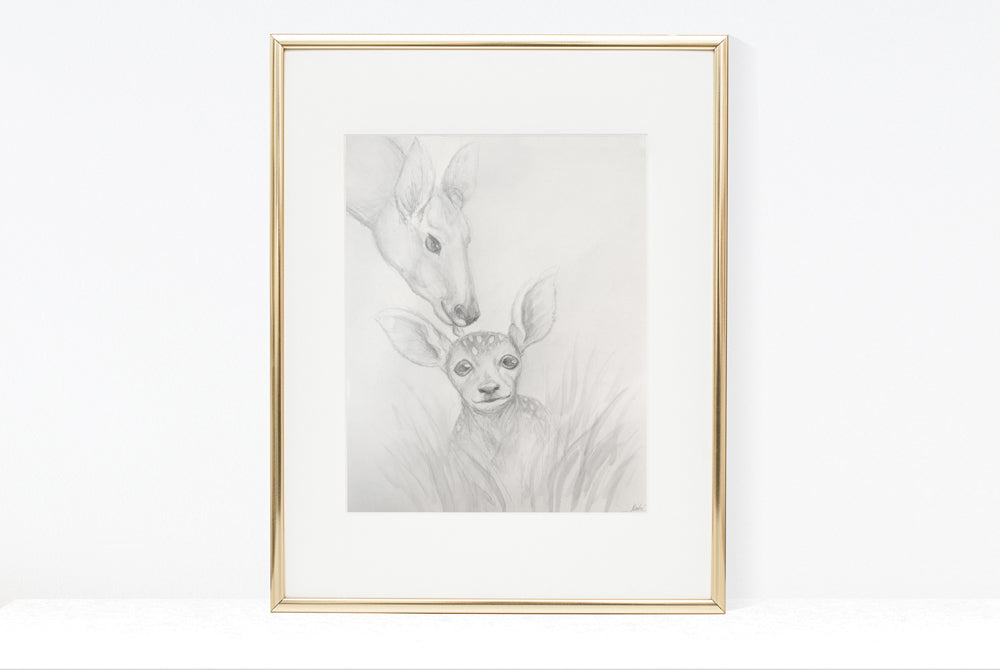 Fawn & Mother Deer Illustration | Pencil and watercolour sketch | 8x10, 11x14 PRINTS