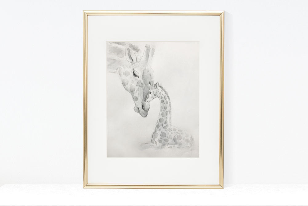 Original Art | Baby Giraffe & Mother Giraffe Illustration | Pencil and watercolour sketch *SOLD*