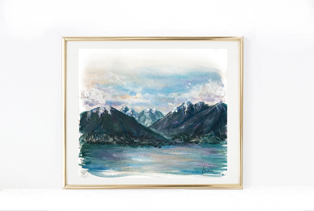 North Vancouver Mountains | British Columbia Illustration | 8.5x11