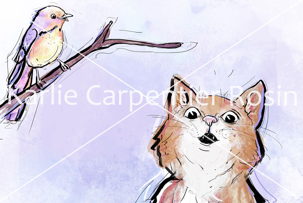 A Little Birdy Told Me, Cat Illustration | Pawsitive Wishes Collection | 5x7, 8x10, 11x14