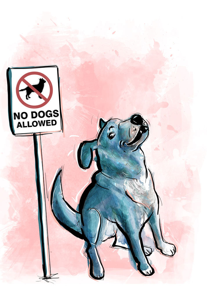 Breaking Rules, Dog Illustration | Pawsitive Wishes Collection | 5x7, 8x10, 11x14