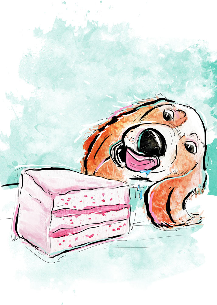 Cake Calories, Dog Illustration | Pawsitive Wishes | 5x7, 8x10, 11x14