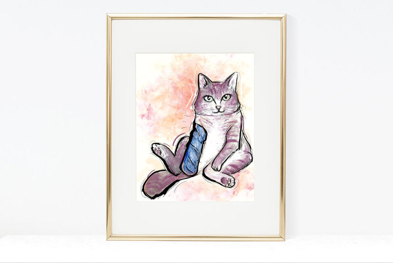 Back On Your Paws, Cat Illustration | Pawsitive Wishes Collection | 5x7, 8x10, 11x14