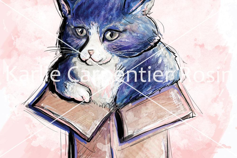 Cat In A Box, Cat Illustration | Pawsitive Wishes Collection | 5x7, 8x10, 11x14