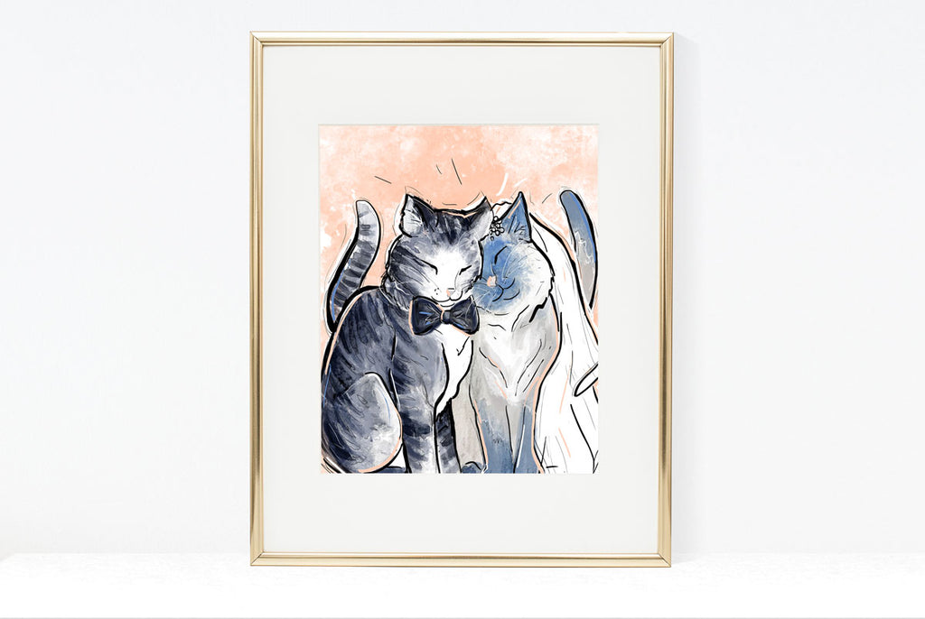 Cat Bride & Groom, Cat Illustration | Pawsitive Wishes Collection| 5x7, 8x10, 11x14