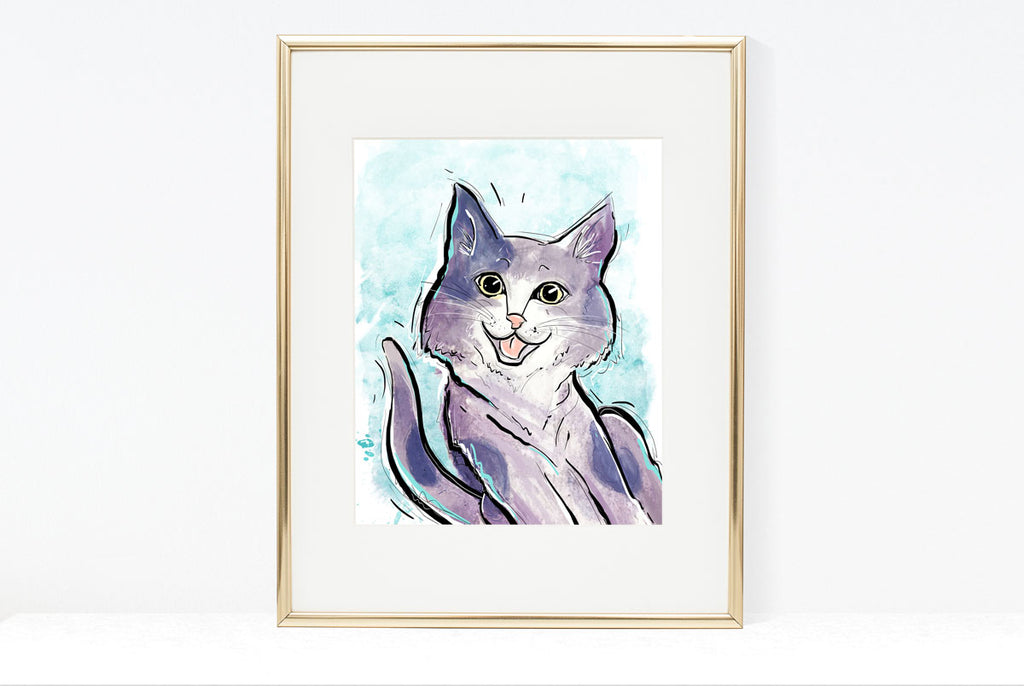Catgratulations, Cat Illustration | Pawsitive Wishes Collection | 5x7, 8x10, 11x14