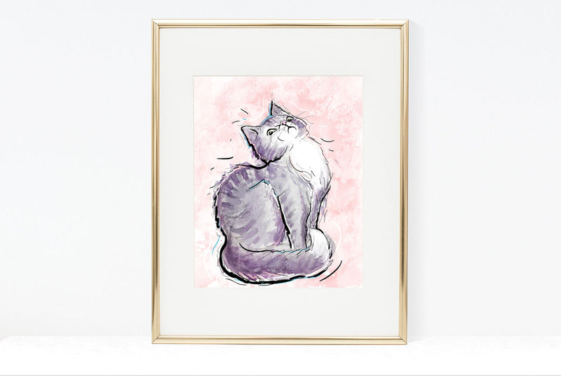 Cattitude, Cat Illustration | Pawsitive Wishes Collection | 5x7, 8x10, 11x14