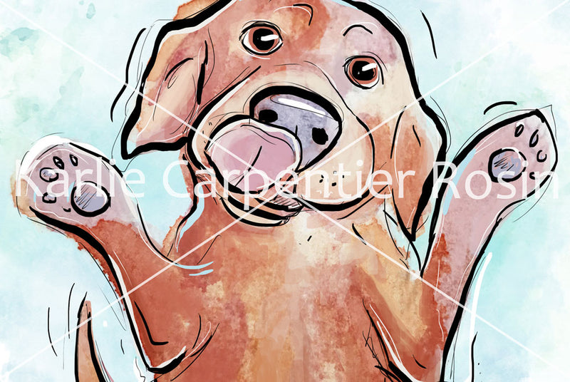 Puppy Love, Dog Illustration | Pawsitive Wishes Collection | 5x7, 8x10, 11x14