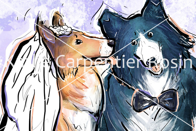 Dog Bride & Groom, Dog Illustration | Pawsitive Wishes Collection | 5x7, 8x10, 11x14