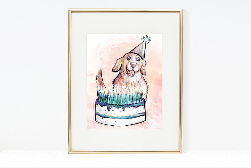 Cake On Fire, Dog Illustration | Pawsitive Wishes Collection | 5x7, 8x10, 11x14