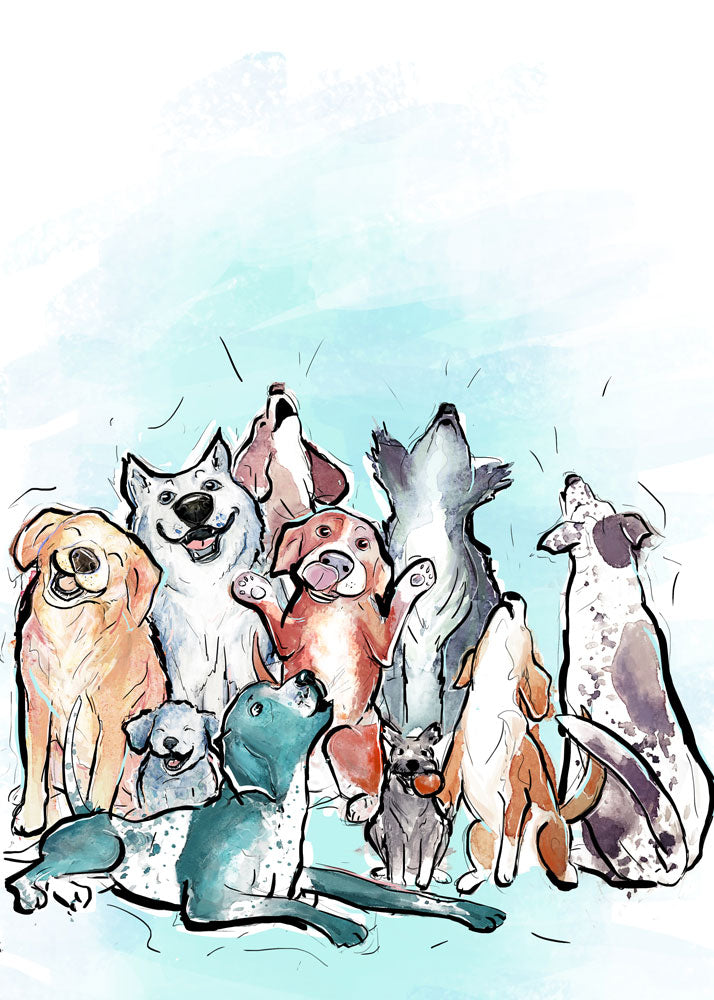 Party Animal, Dog Illustration | Pawsitive Wishes Collection | 5x7, 8x10, 11x14