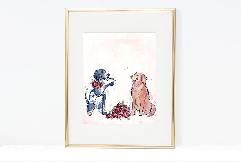 Dogs & Roses, Dog Illustration | Pawsitive Wishes Collection | 5x7, 8x10, 11x14