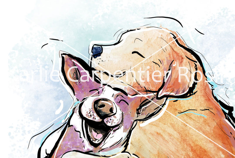 Dog Snuggles, Dog Illustration | Pawsitive Wishes Collection | 5x7, 8x10, 11x14