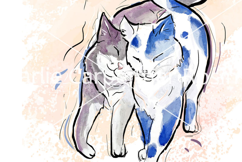 Feline In Love, Cat Illustration | Pawsitive Wishes Collection | 5x7, 8x10, 11x14