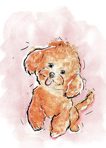 Dog Illustration | Cute Spotted Dog Art | 5x7,  8x10, 11x14
