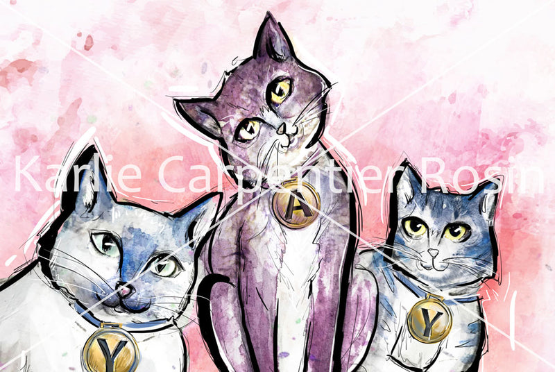 BirthYAY Cats, Cat Illustration | Pawsitive Wishes Collection | 5x7, 8x10, 11x14