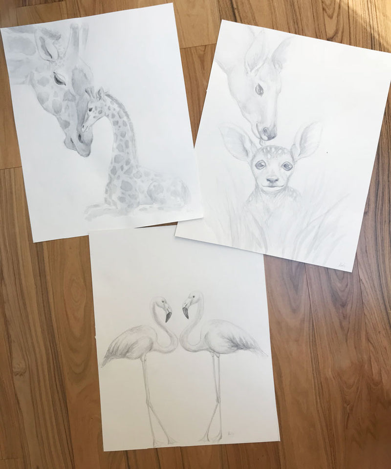 Baby Giraffe and Mother Giraffe Illustration | Pencil and watercolour sketch | 8x10, 11x14 PRINTS