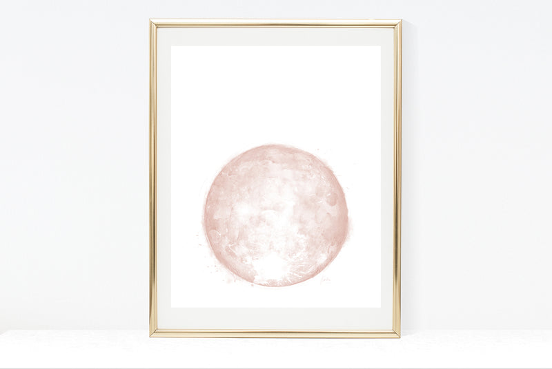 Water Colour Moon Art | Black Monochrome Moon | 8x10, 11x14