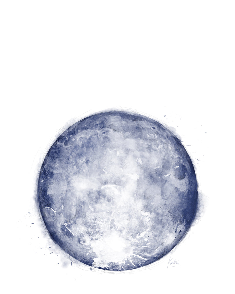 Water Colour Moon Art | Purple Monochrome Moon | 8x10, 11x14