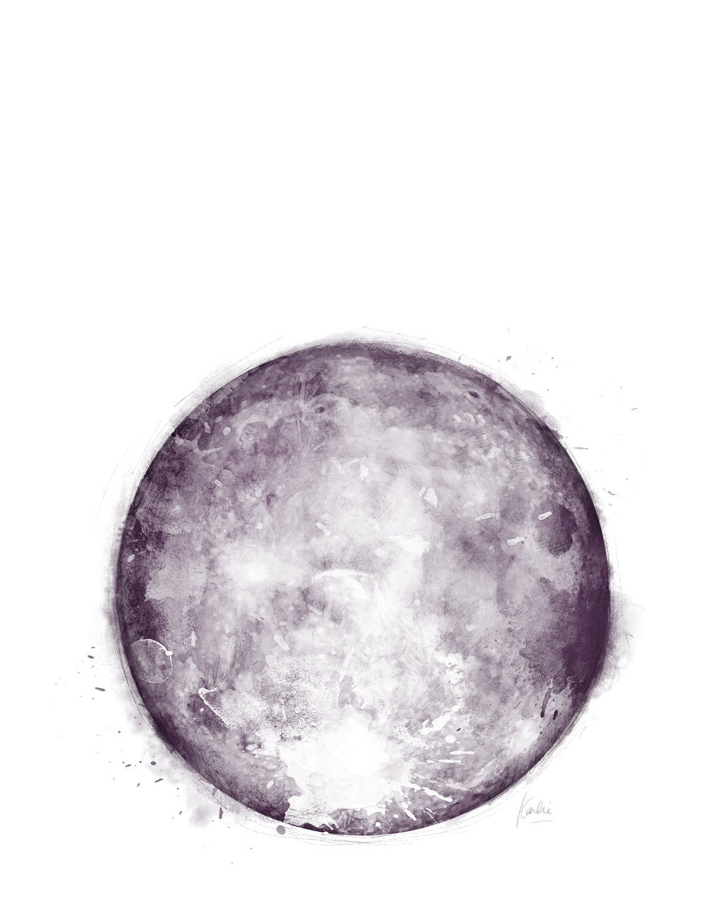 Water Colour Moon Art | Navy Monochrome Moon | 8x10, 11x14