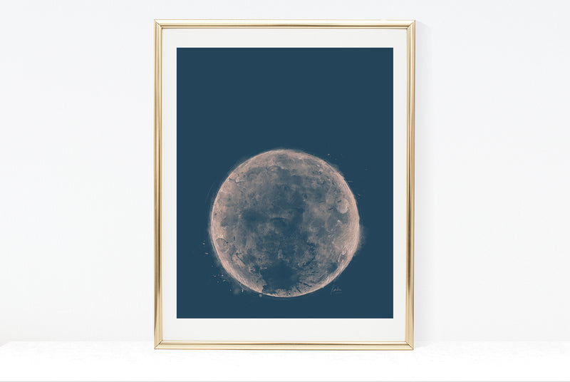 Water Colour Moon Art | Dark Teel Background Moon | 8x10, 11x14