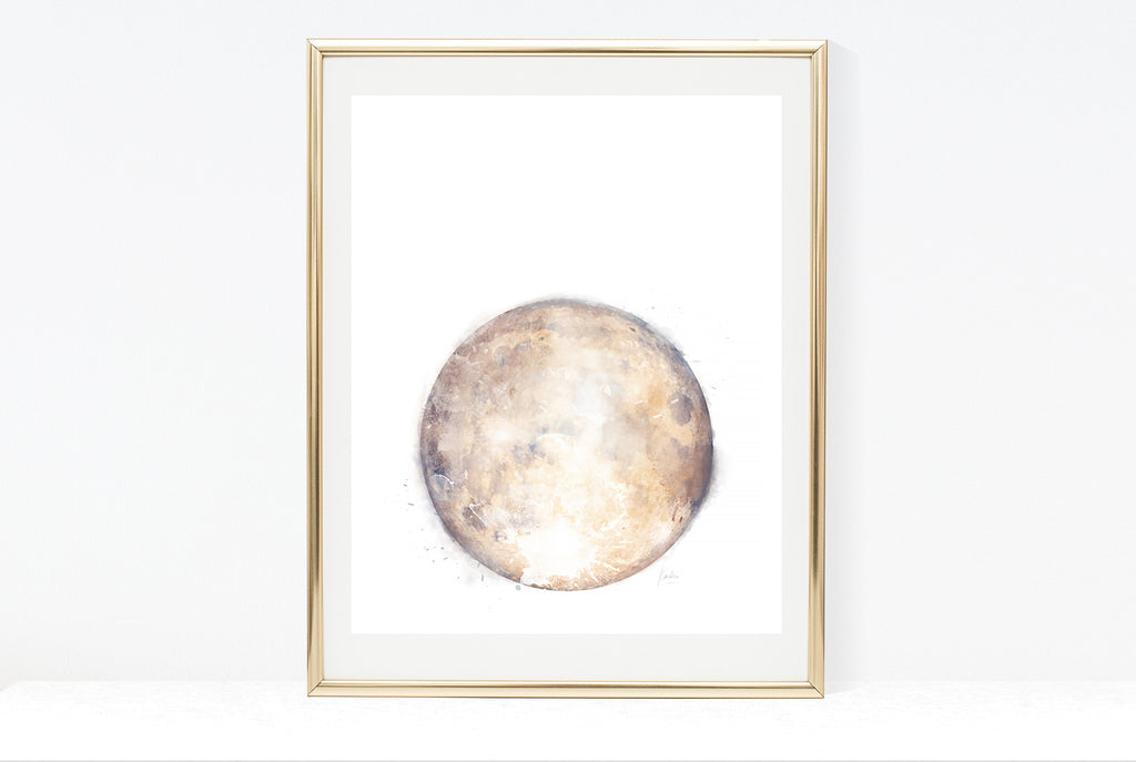 Water Colour Moon Art | Neutral Tone Moon | 8x10, 11x14