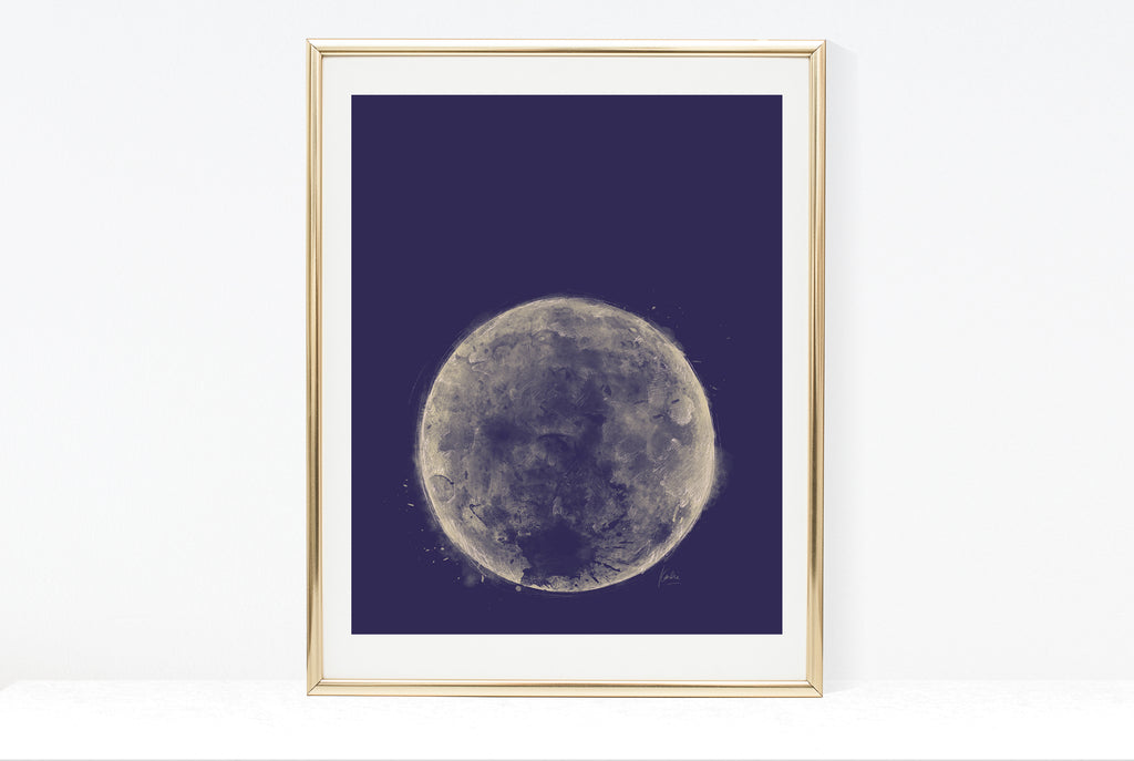 Water Colour Moon Art | Dark Purple Background Moon | 8x10, 11x14