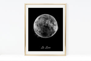 Water Colour Moon Art | Black Background With Typography | La Lune | 8x10, 11x14