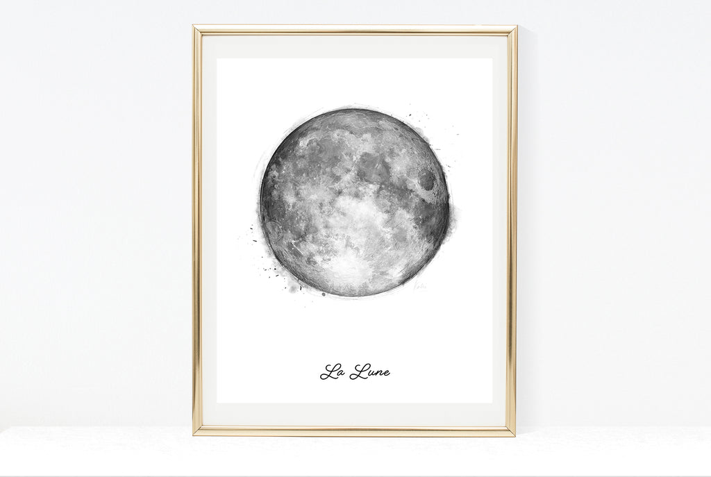 Water Colour Moon Art | Black And White Moon With Typography | La Lune | 8x10, 11x14