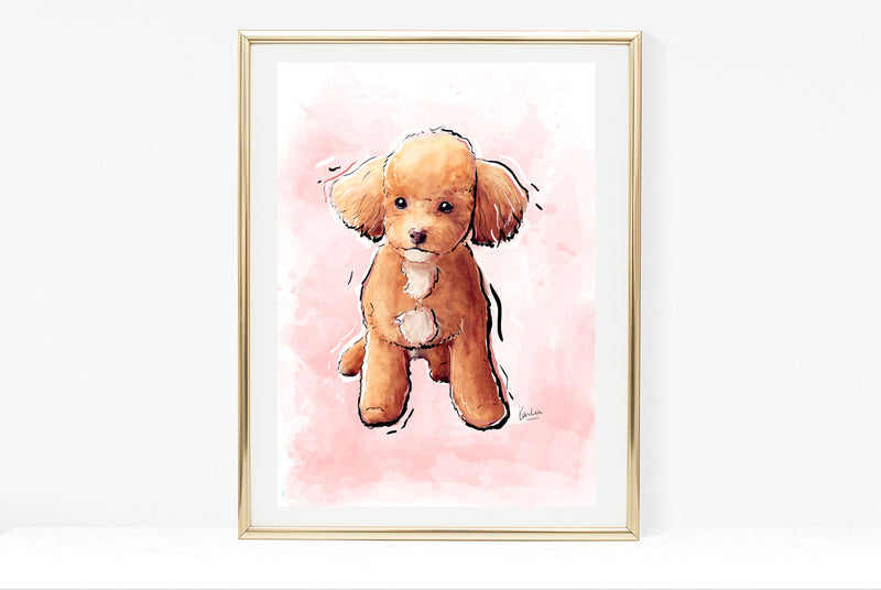 Dog Illustration | Cute Teacup Poodle Dog Art | 5x7,  8x10, 11x14