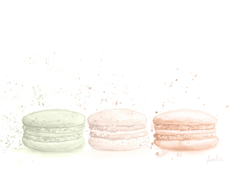 Side by Side Macaron Art | Nutral Tones Illustration | 5x7, 8x10, 11x14