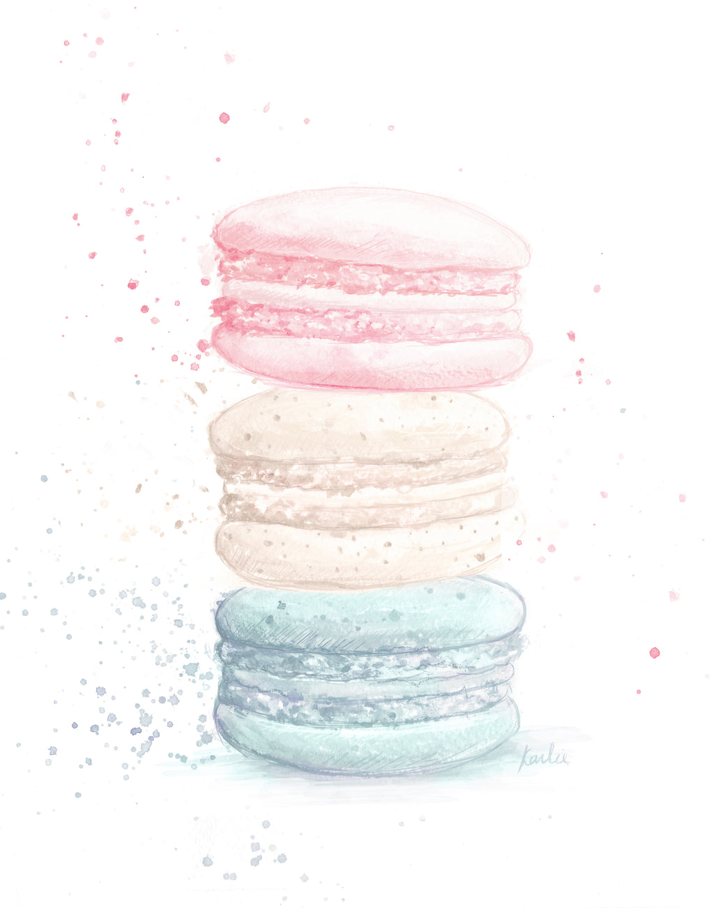 Stacked Macaron Art Print | Muted Colours Illustration | 5x7, 8x10, 11x14