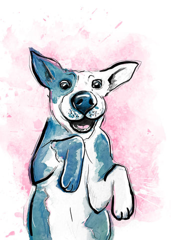 Pawty Time, Dog Illustration | Pawsitive Wishes Collection | 5x7, 8x10. 11x14