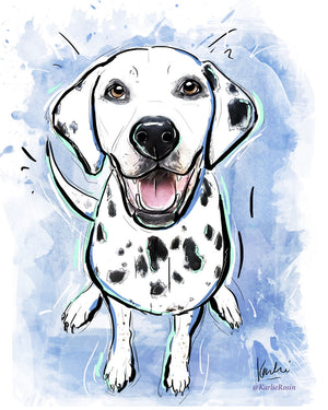 Dog Illustration | Cute Dalmatian Dog Art | 5x7,  8x10, 11x14
