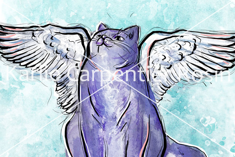 Pegasus Cat Illustration | Pawsitive Wishes Collection | 5x7, 8x10, 11x14