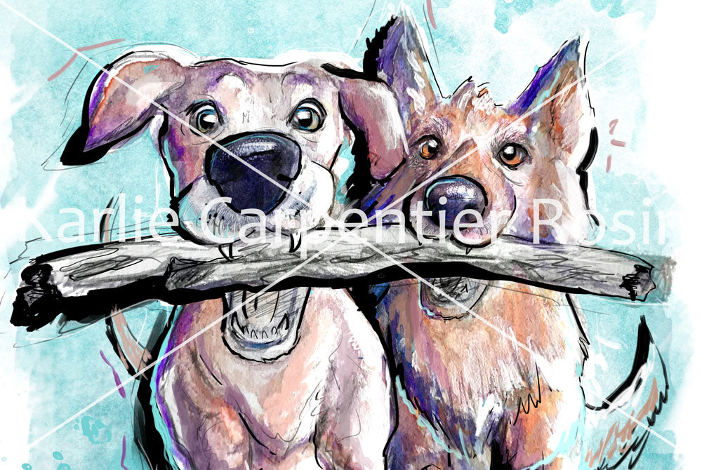 Friends Stick Together, Dog Illustration | Pawsitive Wishes | 5x7, 8x10, 11x14
