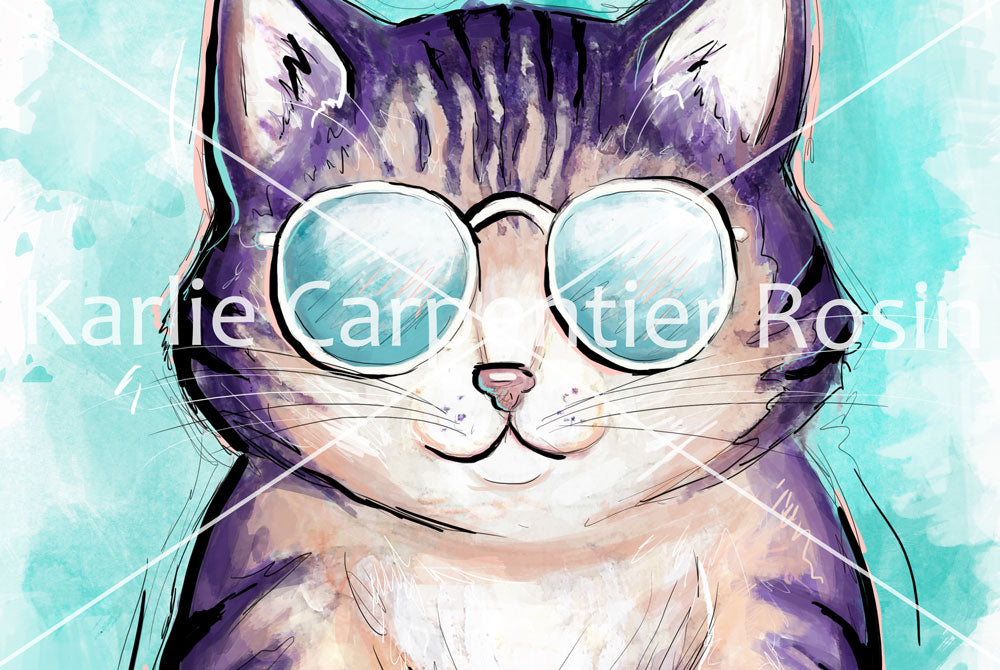 Cool Cat Illustration| Pawsitive Wishes Collection | 5x7, 8x10, 11x14